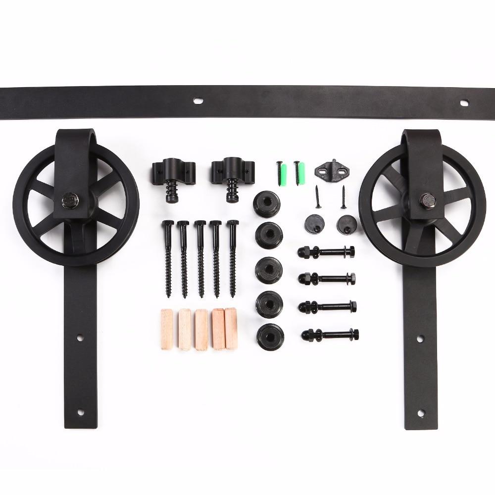 LWZH Sliding Barn Door Hardware Kit Black Steel J- Shaped with Big Rollers Track Closet Door Hardware Kit for Double Door 7/9FT