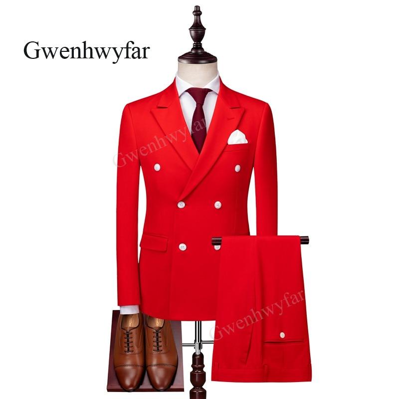 Gwenhwyfar 2018 가을 새로운 6 버튼 신랑 신랑 웨딩 파티 턱시도 밝은 빨간색 패션 남자 정장 블레이저 바지 양복 조끼-에서정장부터 남성 의류 의  그룹 1