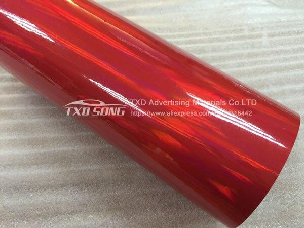 30 см X 152 см/лот голографическая Автомобильная виниловая пленка для украшения кузова автомобиля с воздушными пузырьками, автомобильная наклейка - Название цвета: RED