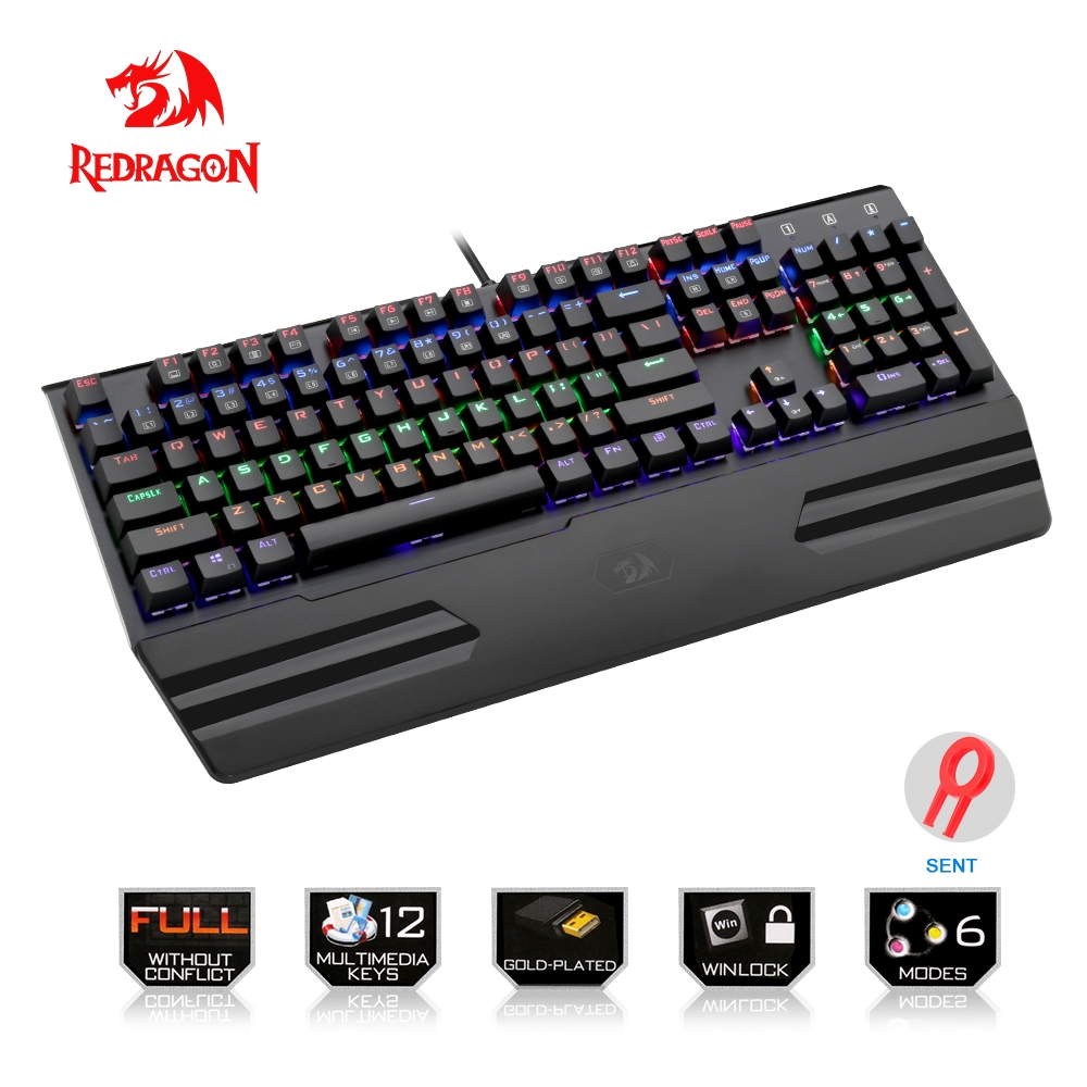 Redragon Rainbow USB mechanical gaming keyboard ergonomic LED backlit keys Full key anti-ghosting 104 keys wired Computer Gamer dareu ek815 104 keys gaming wired mechanical keyboard rgb led backlit anti ghosting usb powered for gamer computer