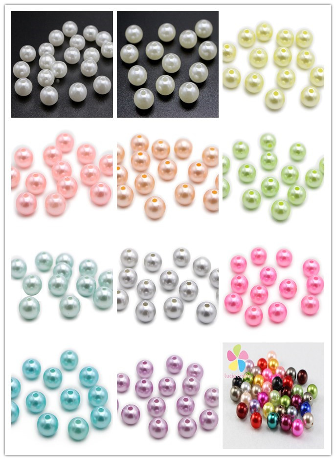 Lucia Crafts 8mm Multi colors options Acrylic Chunky Garment Beads Imitation Pearl 50pcs/100pcs D02803003(3)
