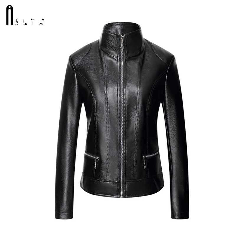ASLTW XL-6XL   Leather   Jacket Woman 2019 New Fashion Plus Size Solid Female Jacket Turn Down Long Sleeve Women's PU   leather   Jacket