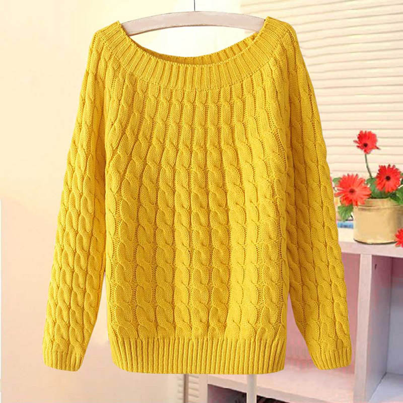 New Fashion Women Christmas Sweter Sweater Pullovers Casual Long Sleeve O-neck Twist Knitted High Quality Women's Clothing