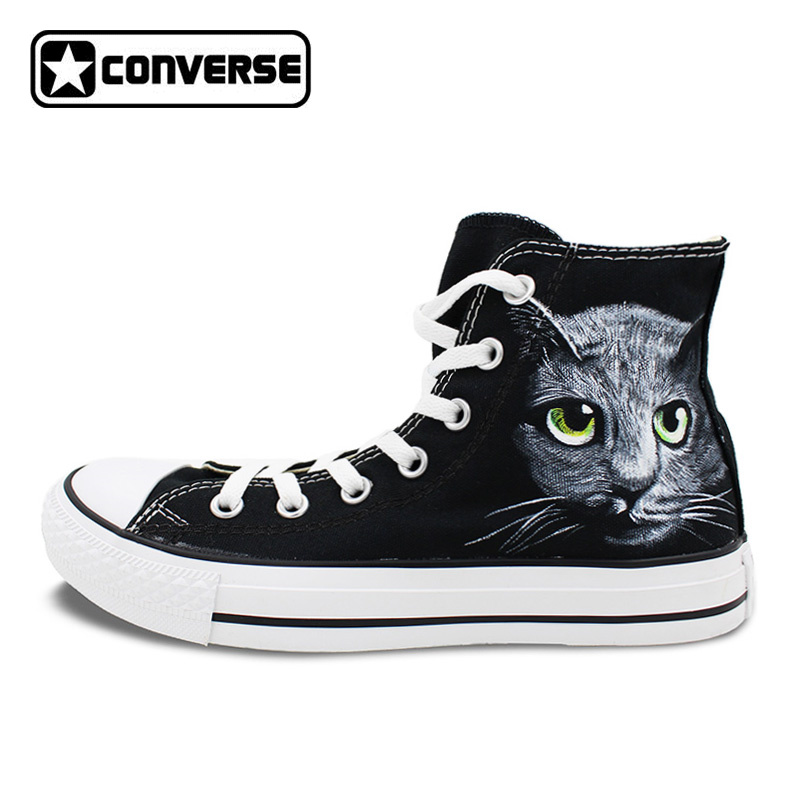 Custom Converse All Star Women Men Shoes Cat Original Design Hand Painted Man Men Sneakers High Top Canvas Shoes Unique Gifts