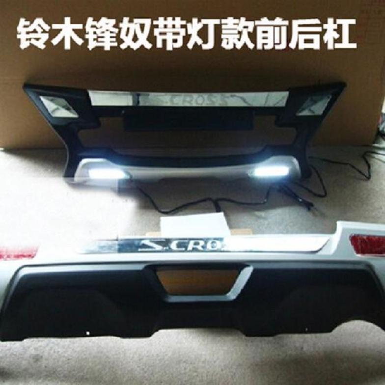 Car Accessories ABS Front+Rear LED Bumpers Car Bumper Protector Guard Skid Plate fit for 2014 SUZUKI S-CROSS Original paragraph pair car front and rear bumper skid protector guard plate for nissan qashqai dualis j11 2014 2016 abs decoration accessories
