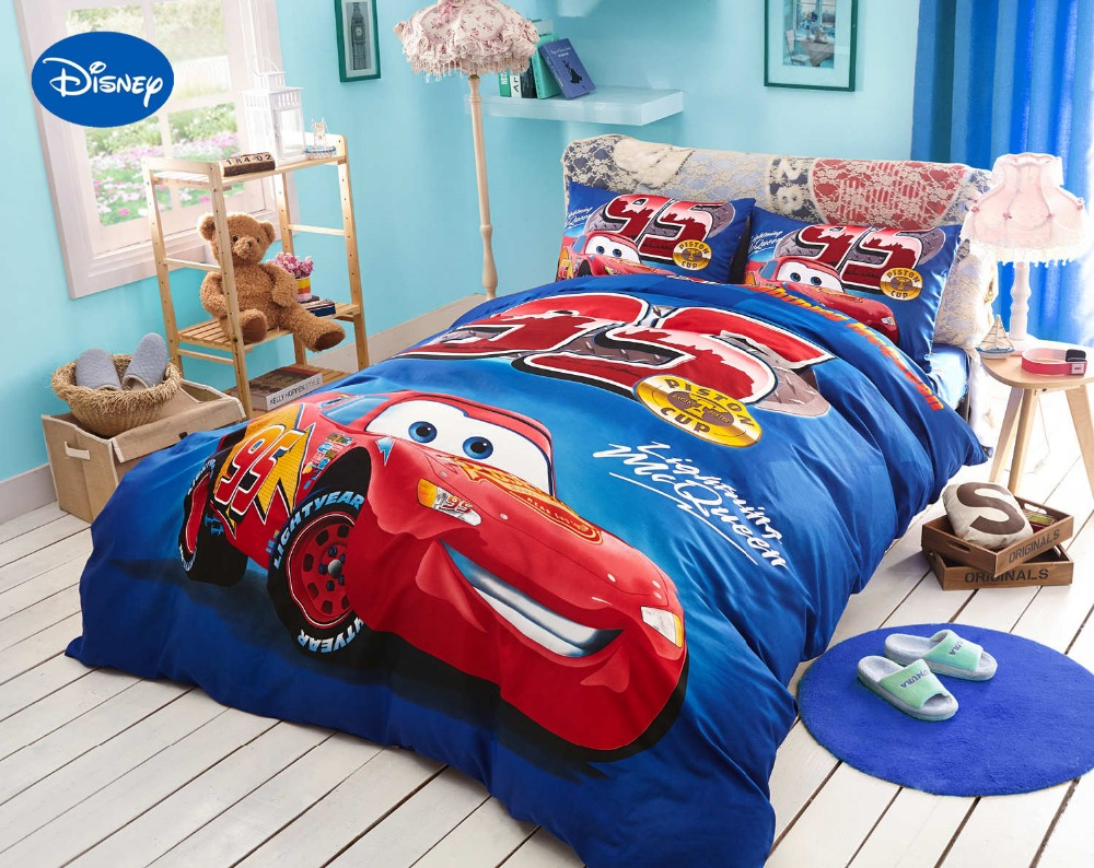 Blue Disney Cartoon Lightning McQueen Printed Bedding Sets for Childrens Boys Bedroom Decor Cotton Bed covers Twin Full