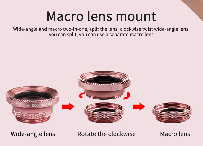 Cell Phone Camera Lens 4 in 1 Universal Professional Kit Fisheye Macro + Wide-angle + CPL Polarized Lens For iPhone Samsung 12