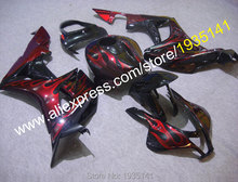 Hot Sales,Motorcycle Parts For Honda CBR600RR F5 2007 2008 CBR 600 RR 07 08 Red Flame Bodyworks Moto Fairing (Injection molding)