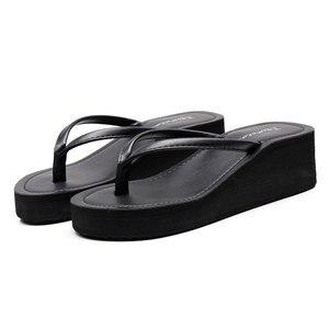 Image 5 - Ipomoea Women Beach Flip Flops 2020 Summer Platform Shoes Woman Fashion Wedges Slippers Female Casual Sandals Slides SH041402