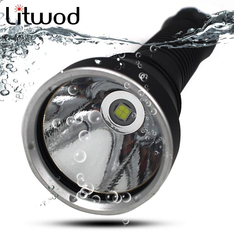 Litwod Z20D88 Дайвинг светодио дный фонарик 5000LM лампа XHP70 EasyWhite светодио дный Плавная затемнения под водой 150 м IPX8 факел