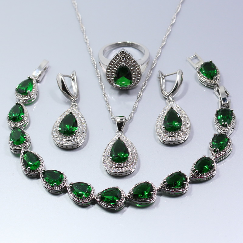 Jewelry Set Sterling Silver Ring Necklace Pendant Earrings