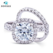 купить Ring For Women 1.5 carat 7.5mm FGH Color round Cut Moissanite Ring Accents 14k Gold Vintage Engagement Wedding Ring Fine Jewelry дешево