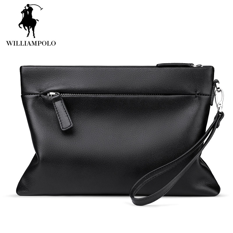 2017 Luxury Genuine Leather Handbag for Men Bag Envelope Clutch Bag Ipad Cases Solid Black Handbags Big Purse Wallet EA0301