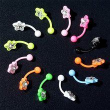 12pcs/Lot Zircon Navel Rings 16G Colorful Surgical Stainless Steel Belly Button Nailing For Women Piercing Body Jewelry