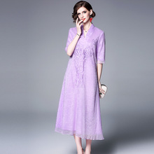 Summer Dress Plus Size S-XXL 2019 New Chinese Style Vintage Embroidered V-Neck Loose A-Line Elegant Mid-Calf Length Purple