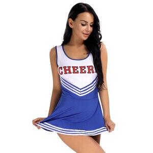 Image 2 - IIXPIN Sexy schoolgirl cosplay costume Cheerleader Uniform Fancy Mini Dress Costume Outfits Womens School Girls Musical Uniform