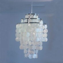 Modern Fashion 3 Circle DIY white natural seashell capiz pendant lamp Light Dia 35cm Verner Panton Shell lamps for bedroom E27