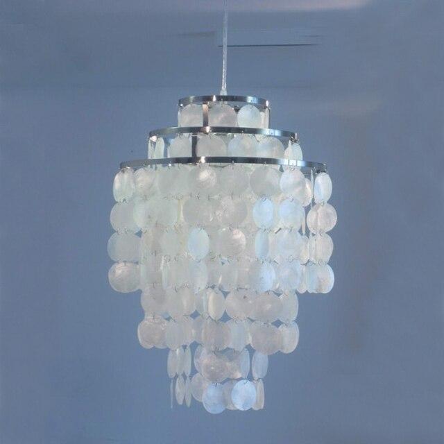Modern Fashion 3 Circle DIY White Natural Seashell Capiz Pendant Lamp Light  Dia 35cm Verner Panton