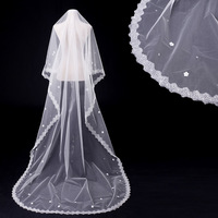 Fishday Bridal Wedding Veil In Stock Lace Girls Long 3m Real White Cathedral Accessories Woman Femme Sale Without Clip D30