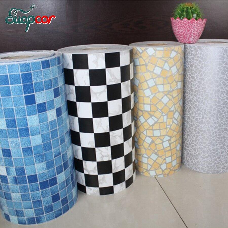 5 M/10 M nouveaux carreaux de salle de bains autocollant mural étanche vinyle PVC mosaïque auto-adhésif Anti-huile autocollants bricolage papiers peints décor à la maison