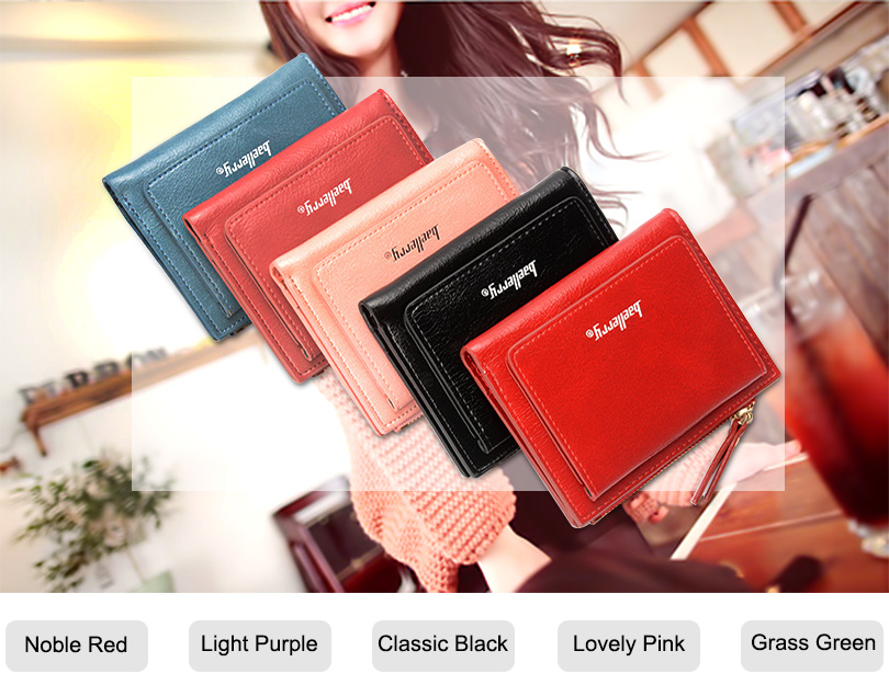 Women Wallet Small Purse Female Wallet Credit card slots zipper coin pocket Leather Wallet lovely pink one size 2