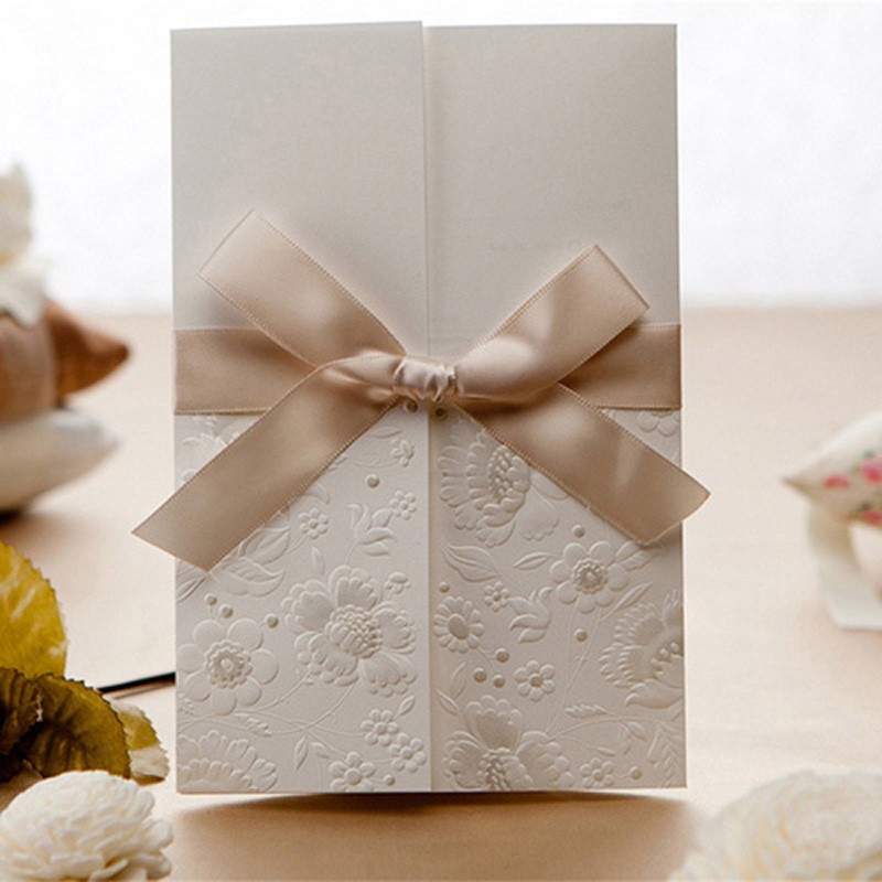 100pcs White Laser Cut Wedding Invitations Card 3D Card Greeting Cards Postcard Printable With Ribbon Wedding Party Supplies