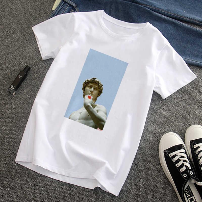 Erkek tişört David Michelangelo yaz kısa kollu komik baskılı komik baskı eğlenceli Harajuku tshirt streetwear yeni erkek tişört