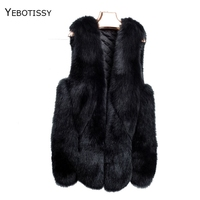 genuine fox fur vest for women middle long