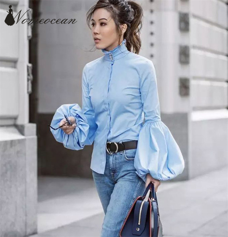 85259676e Lantern Sleeve Blouses Button Down Shirts Pleated Ruffle Trim Women's Shirts  Single Breasted Button Long Sleeve Blouse M18011701