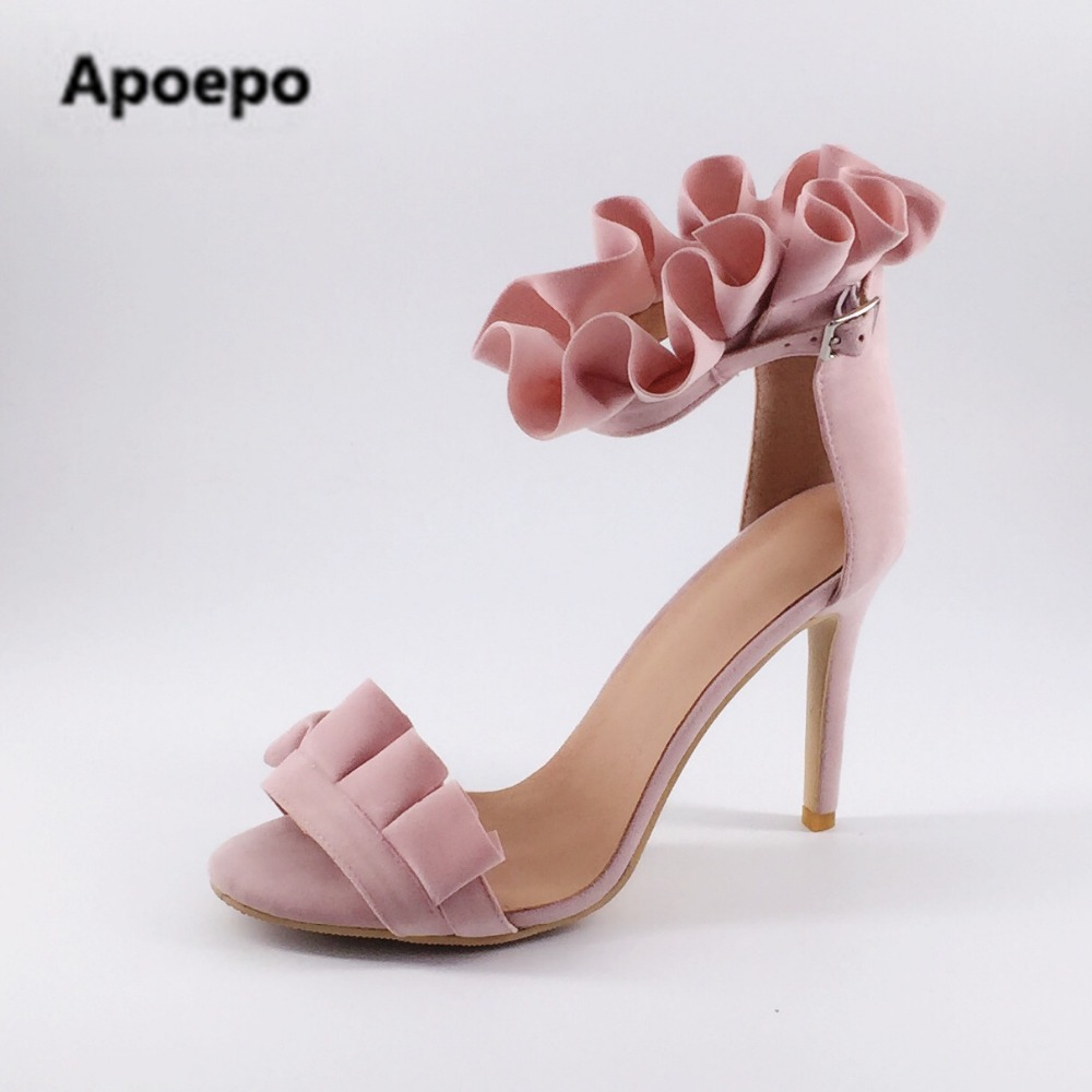 Apoepo hot selling green suede high heel sandal open toe ruffles decorations ankle strap gladiator sandal 2017 sexy sandal apoepo hot selling green suede high heel