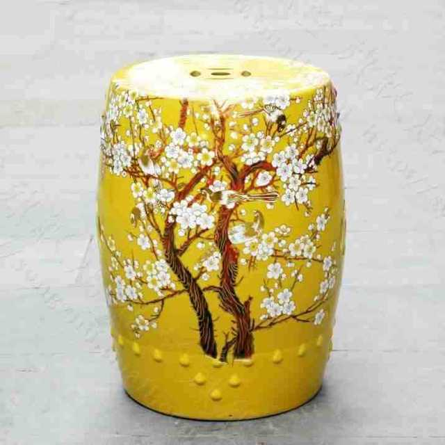 China Plum Blossom Painting Ceramic Drum Porcelain Garden Stool Glazed Ceramic  Ceramic Chinese Ceramic Garden Stools