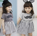 2017 summer paragraph princess children  children dress girls striped short-sleeved dress stitching beard