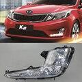 Carro Kit DRL para KIA Rio K2 2011 2012 2013 2014 LEVOU Diurna correndo Light bar auto Fog lâmpadas lâmpada luz para carro led drl luz do dia