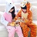 Inverno quente de manga comprida pijamas crianças dos desenhos animados cat e tigres cosplay animal macacão de flanela crianças sleepwear meninos meninas pijamas