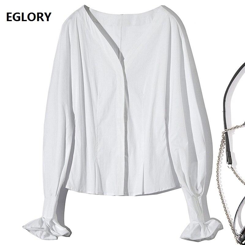 Haute qualité coton Blouse 2019 printemps mode chemise femmes v-cou pétale manches solide blanc Blouse dames Vintage hauts chemise
