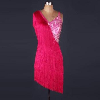 Svitania Woman Latin Dance Dress Tassel Rhinestone Strap Salsa Dresses Stage Dancewear S-2XL