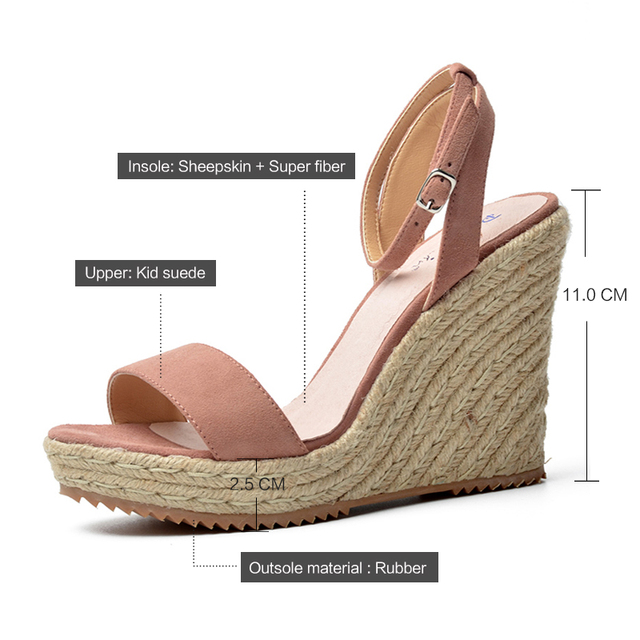 Donna in Summer Platform Sandals Wedge Women Genuine Leather High Heels Open Toe Ladies Shoes