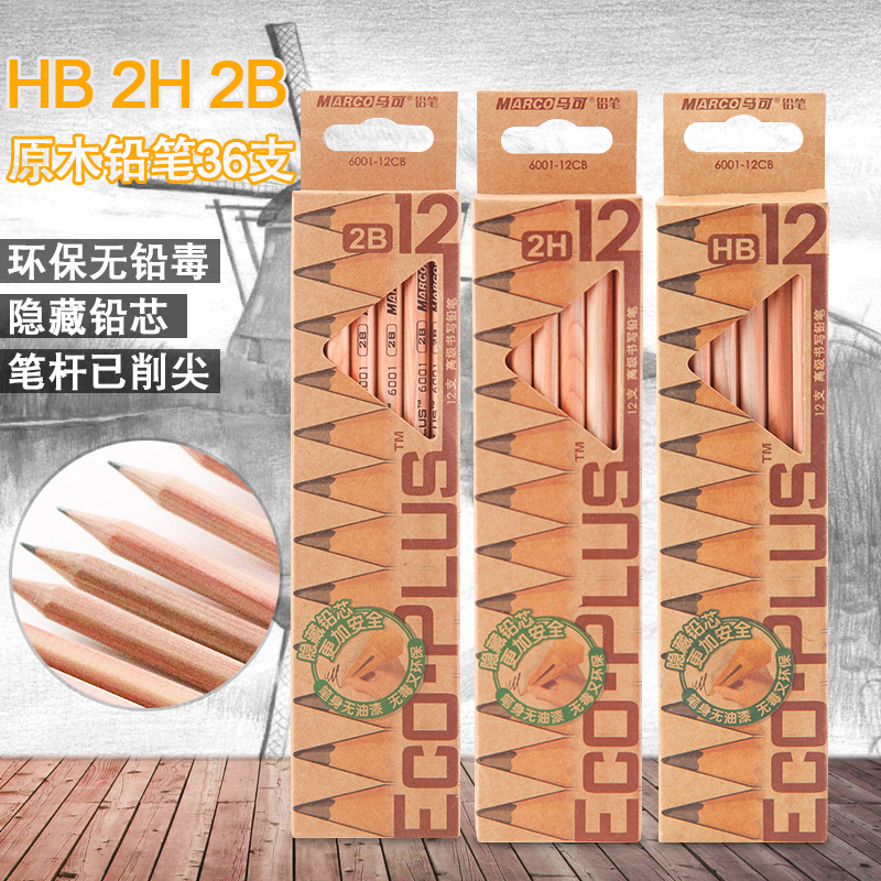 36pcs/set Sketch Drawing Pencil Marco 6001 Eco-friendly Nature Wood HB/2H/2B Standard Pencils for School Supplies Children Kids 12pcs candy color cute pencil hb 2b school stationery store student kids triangle graphite drawing sketch wood pen office supply