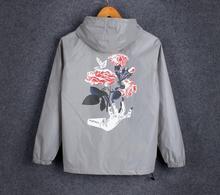 Spring/autumn Hand Flowers  Men windbreaker 3m reflective jacket casual hip hop men jackets