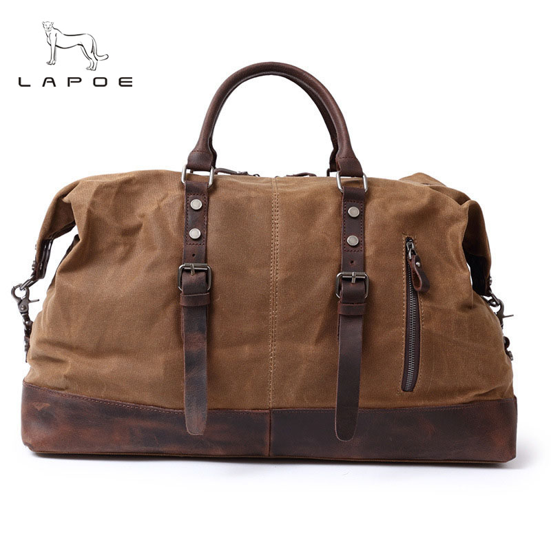 Fashion Canvas Leather Men Travel Bag Large Capacity Men Hand Luggage Travel Duffle Bags Weekend Bags Multifunctional Tote Bag vintage canvas shoulder travel bags men large casual men crossbody messenger travel bag leisure hand luggage travel bags 1062