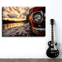 Canvas Painting Home Decorative Artwork 1 Pieces HD Prints Type Style Antique Car In Sun Set Landscape Pictures For Living Room