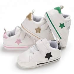 Модные для маленьких мальчиков и девочек Первые ходунки повседневное звезда печати Лоскутная детская спортивная обувь Лидер продаж