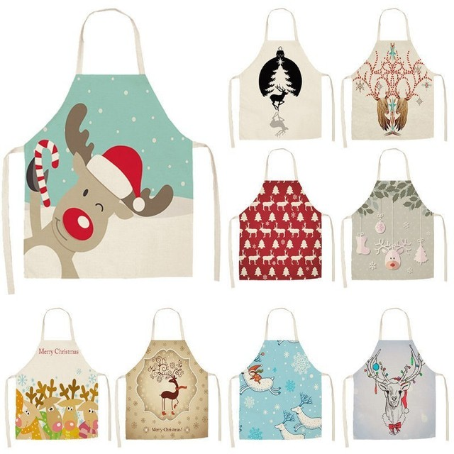 1Pcs Lovely Deer Christmas Apron for Woman Pinafore Cotton Linen Aprons 53*65cm Home Kitchen Cooking Baking Cleaning Bibs CM1004