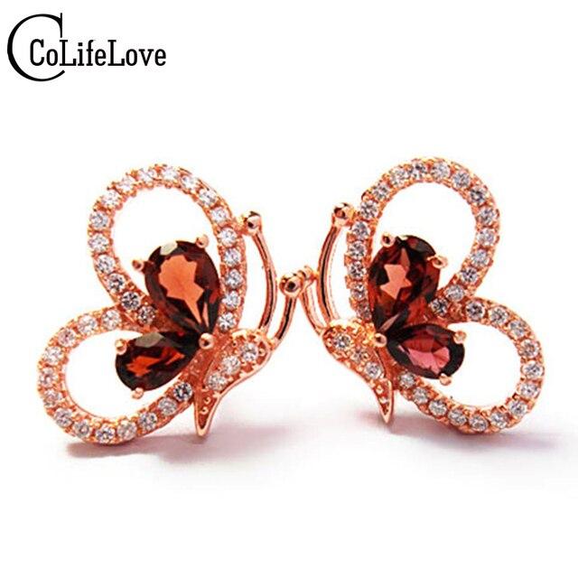 Cute Silver Erfly Shape Stud Earrings Natural Blood Red Garnet Gemstone Earring Fashion Solid