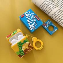 Cartoon Lemon Tea Milk Drink Cases With hanging loop For AirPods Bluetooth Wireless Headphones Charger Box for Apple Airpods(China)