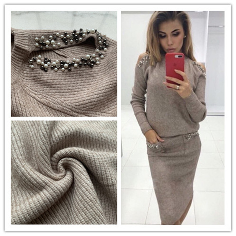 Casual khaki Pullover Sweater Dress Suit & Set Women Long Sleeve  1