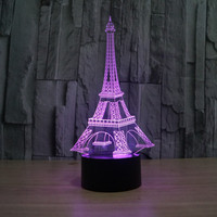 3D Atmosphere lamp 7 Color Changing Visual illusion LED Decor Lamp Eiffel Tower Home Table Decoration for Child Gift