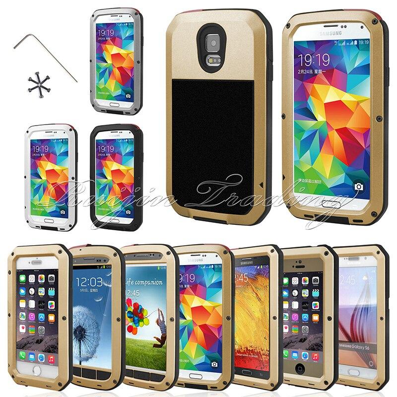 imágenes para Potente Caja Del Teléfono Del Metal de Aluminio Gorilla Glass Resistente Al Agua A Prueba de Golpes Protege La Cubierta Para Samsung Galaxy S3/S4/S5/S6/Nota4/Note5