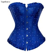 Sapubonva korsetts plus größe frauen overbust korsett crop top cupless strass kostüm korsett bustier korsett blau rot lila