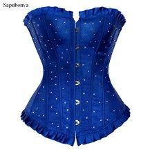 Sapubonva מחוכים בתוספת גודל נשים overbust מחוך יבול למעלה cupless ריינסטון תלבושות מחוך bustier מחוך כחול אדום סגול